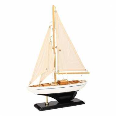 Model zeilboot luxe donkerblauw/wit 26 cm