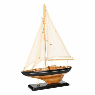 Model zeilboot luxe naturel zwart 26 cm