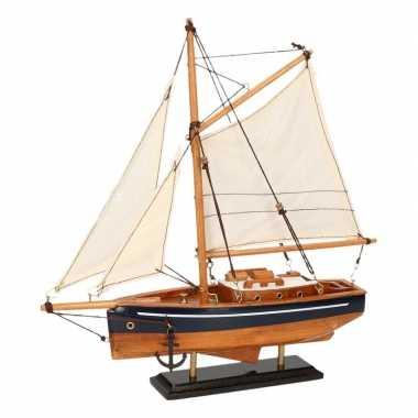 Model zeilboot model jacht naturel blauw 23 cm