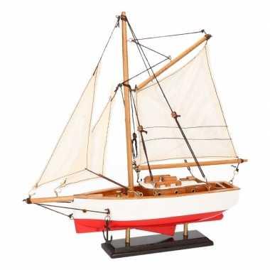 Model zeilboot model jacht rood/wit 23 cm